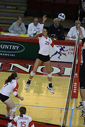 19 November 2010: Mallory Leggett  during an NCAA volleyball match between the Sycamores of Indiana State and the Illinois State Redbirds at Redbird Arena in Normal Illinois.