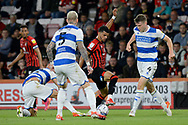 Dominic Solanke (9) of AFC Bournemouth battles for possession with Rob Dickie (4) of Queens Park Rangers during the EFL Sky Bet Championship match between Bournemouth and Queens Park Rangers at the Vitality Stadium, Bournemouth, England on 14 September 2021.