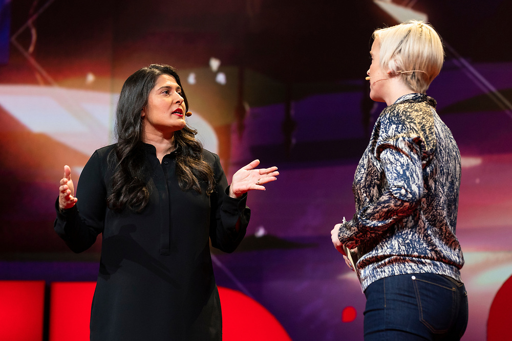 Sharmeen Obaid-Chinoy and Host Helen Walters speak at TED2019: Bigger Than Us. April 15 - 19, 2019, Vancouver, BC, Canada. Photo: Bret Hartman / TED