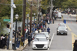 November 2, 2018 - Macon, GA, USA - People form a long line along Atlanta Student Movement Boulevard in Macon, Ga., in order to see former President Barack Obama speak during a rally for gubernatorial candidate Stacey Abrams on Friday, Nov. 2, 2018. (Credit Image: © Alyssa Pointer/Atlanta Journal-Constitution/TNS via ZUMA Wire)