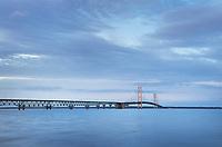 Mackinac Bridge at twilight, seen from Mackinaw City Michigan