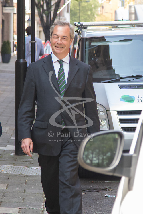 Milbank, London, May 12th 2016.  UKIP leader Nigel Farage arrives at Milbank for a television interview as part of the Vote Leave campaign. ©Paul Davey<br /> FOR LICENCING CONTACT: Paul Davey +44 (0) 7966 016 296 paul@pauldaveycreative.co.uk
