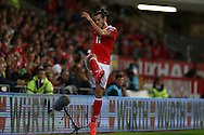 Gareth Bale of Wales kicks the tv microphone over. Wales v Moldova , FIFA World Cup qualifier at the Cardiff city Stadium in Cardiff on Monday 5th Sept 2016. pic by Andrew Orchard, Andrew Orchard sports photography