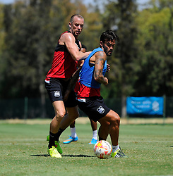 Aaron Wilbraham of Bristol City battles for the ball with Marlon Pack of Bristol City  - Photo mandatory by-line: Joe Meredith/JMP - Mobile: 07966 386802 - 17/07/2015 - SPORT - Football - Albufeira -  - Pre-Season Training