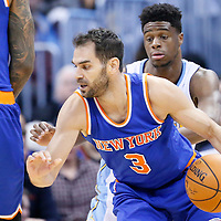 08 March 2016: New York Knicks guard Jose Calderon (3) drives past Denver Nuggets guard Emmanuel Mudiay (0) on a screen set by New York Knicks forward Derrick Williams (23) during the Denver Nuggets 110-94 victory over the New York Knicks, at the Pepsi Center, Denver, Colorado, USA.