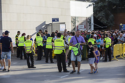 August 20, 2017 - Barcelona, Catalonia, Spain - Security measures in the accesses to the stadiums before the match between FC Barcelona vs Real Betis Balompie, for the round 1 of the Liga Santander, played at Camp Nou Stadium on 20th August 2017 in Barcelona, Spain. (Credit Image: © Urbanandsport/NurPhoto via ZUMA Press)