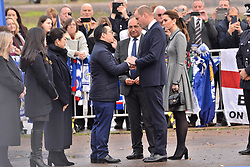 © Licensed to London News Pictures. 28/11/2018. Leicester, UK. The Duke and Duchess of Cambridge visit a tribute site near Leicester City Football Club King Power Stadium to pay tribute to those who were tragically killed in the helicopter crash at Leicester City Football Club's King Power Stadium. Their Royal Highnesses knew the Club's Chairman, Vichai Srivaddhanaprabha, and wanted to visit the city to recognise the warmth and compassion that the people of Leicester and fans of Leicester City Football Club have shown in reaction to the accident. Photo credit: Ray Tang/LNP