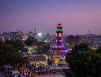 JODHPUR, INDIA - CIRCA NOVEMBER 2018: Night view of Ghanta Ghar, the Clock Tower of Jodhpur. Jodhpur is the second largest city in the Indian state of Rajasthan. Jodhpur is a popular tourist destination, featuring many palaces, forts and temples, set in the stark landscape of the Thar Desert. It is popularly known as Blue city and Sun city among people of Rajasthan and all over India