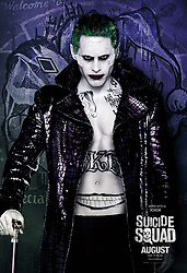 RELEASE DATE: August 5, 2016 TITLE: Suicide Squad STUDIO: Atlas Entertainment DIRECTOR: David Ayer PLOT: A secret government agency recruits imprisoned supervillains to execute dangerous black ops missions in exchange for clemency STARRING: Jared Leto as The Joker poster (Credit Image: © Atlas Entertainment/Entertainment Pictures/ZUMAPRESS.com)