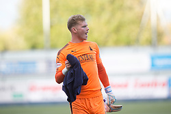 Falkirk's keeper Robbie Thomson at the end of  the game. Falkirk 2 v 0 Dunfermline, Scottish Challenge Cup played 7/9/2017 at The Falkirk Stadium.