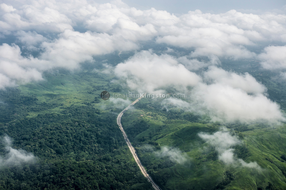 Aerial view of the transisthmaian highway in Panama.