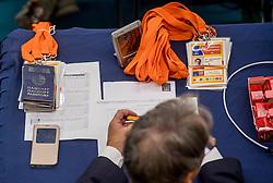24-09-2016 NED: EK Kwalificatie Nederland - Wit Rusland, Koog aan de Zaan<br /> Nederland verliest de eerste twee sets / Jury tafel met paspoorten, ID