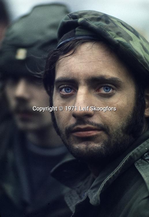 Close-up of Vietnam Veteran demonstrating against the Vietnam War in Philadelphia, PA June, 1971