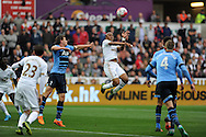 Andre Ayew of Swansea city (c) scores his teams 1st goal. Barclays premier league match, Swansea city v Tottenham Hotspur at the Liberty Stadium in Swansea, South Wales on Sunday 4th October 2015.<br /> pic by  Andrew Orchard, Andrew Orchard sports photography.