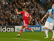 02.10.2013 Manchester, England.  Bayern Munich's Arjen Robben celebrates after he makes it 3-0 during the Group D UEFA Champions League game between, Manchester City and Bayern Munich from the Etihad Stadium.