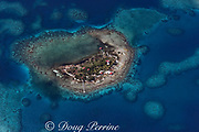 aerial view of an inhabited coral cay inside the southern Belize barrier reef, off Placencia, Stann Creek District, Belize, Central America ( Caribbean Sea )