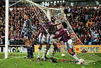 Football -  1993 / 1994 Aston Villa v Tranmere Rovers, Coca-Cola League Cup Semi-final 2nd leg. 27/02/1994<br /> <br /> Dalian Atkinson  of Aston Villa celebrates his goal with Dean Saunders (goal no 3) at Villa Park.<br /> <br /> Aston Villa won on penalties 5-4.<br /> 4-4 on aggregate, after extra time.<br /> <br /> Credit : Colorsport / Andrew Cowie