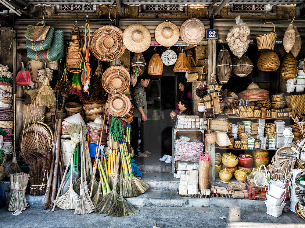 Shop filled with kitchenware along Hang Khoai street in Hanoi's Old Quarter, Vietnam, Southeast Asia