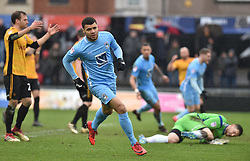 Coventry City's Max Biamou elebrates his goal against Newport County to make it 1-1