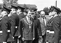 Lord Mayor of Dublin Sean Haughey at the fire fighter physical education and life saving display at the Passing out parade of new firemen for the Dublin Fire Brigade, 03/09/1989 (Part of the Independent Newspapers Ireland/NLI Collection).