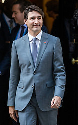 © Licensed to London News Pictures. 18/04/2018. London, UK. Prime Minister of Canada Justin Trudeau leaves 10 Downing Street after meeting with Prime Minister Theresa May. Photo credit: Rob Pinney/LNP