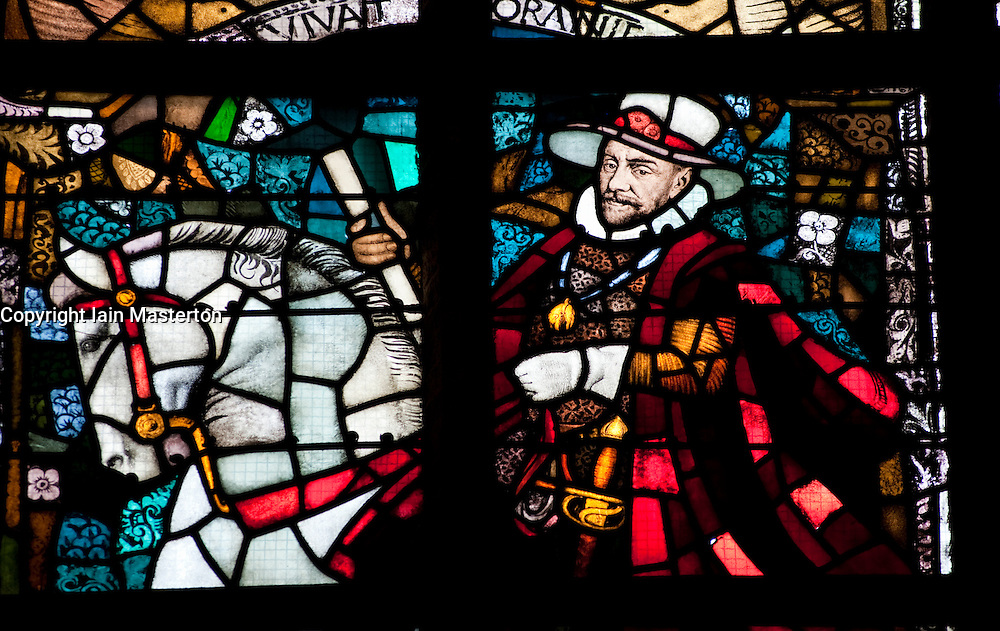 William of Orange shown in stained glass windows in Nieuwe Kerk or New church in Delft The Netherlands