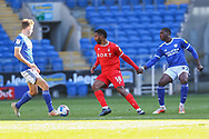 Nottingham Forest's Carlos Ribeiro Dias (18) under pressure from Cardiff City's Sheyi Ojo (27) during the EFL Sky Bet Championship match between Cardiff City and Nottingham Forest at the Cardiff City Stadium, Cardiff, Wales on 2 April 2021.