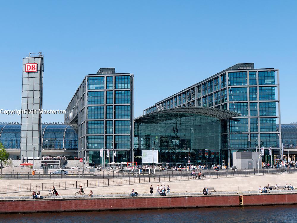 Exterior view of modern Berlin Main Railway station or Hauptbahnhof in Germany