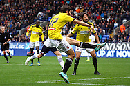 Brentfords' Jon Toral shoots and scores his teams 1st goal. Skybet football league championship match, Bolton Wanderers v Brentford at the Macron stadium in Bolton, Lancs on Saturday 25th October 2014.<br /> pic by Chris Stading, Andrew Orchard sports photography.