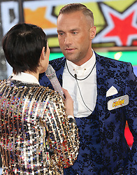 © Licensed to London News Pictures. 03/01/2017. London, UK, Emma Willis; Calum Best, Celebrity Big Brother: WInter 2017 - Live Launch Show, Photo credit: Brett Cove/LNP