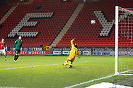 Charlton's Chuks Aneke shot beats the Rochdale keeper during the EFL Sky Bet League 1 match between Charlton Athletic and Rochdale at The Valley, London, England on 12 January 2021.