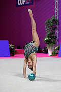 Izabekova Aisha from Kyrgyzstan competing in the Rhythmic Gymnastics World Cup at Vitrifrigo Arena on 28/29 May 2021, Pesaro, Italy. She was born in Bishkek in 2003.<br /> .