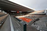 Raindrops illustration over windows on Philippe Chatrier stadium during the Roland Garros 2020, Grand Slam tennis tournament, on October 5, 2020 at Roland Garros stadium in Paris, France - Photo Stephane Allaman / ProSportsImages / DPPI