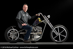 Donny Loos' flamed tank custom built from a 1949 FL panhead. Photographed by Michael Lichter during the Easyriders Bike Show in Columbus, OH on February 21, 2016. ©2016 Michael Lichter.