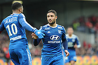 Fotball<br /> Frankrike<br /> Foto: Panoramic/Digitalsport<br /> NORWAY ONLY<br /> <br /> joie Nabil Fekir apres son but - Alexandre Lacazette  (Lyon)