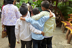 Boys Arm In Arm At Royal Palace Khmer Cultural House