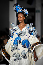© Licensed to London News Pictures. 06/06/2018. LONDON, UK.  A model presents a look by Evelyne Babin from UCA Epsom at the Best of Graduate Fashion Week 2018 show at the Old Truman Brewery in East London. The event presents the graduation show of up and coming fashion designers from UK and international universities.  Photo credit: Stephen Chung/LNP