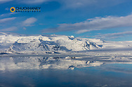 Jokulsarlon lagoon in winter in Iceland