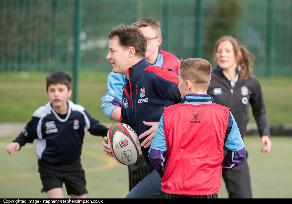 © Licensed to London News Pictures. 02/02/2015. Twickenham, UK The British Deputy Prime Minister, Nick Clegg and the Secretary of State for Business, Innovation and Skills, Vince Cable take part in the All Schools training session at Twickenham Academy, Today 2nd February 2015.