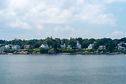 Seaside view of the homes along the coast south of Portland, Maine, USA.
