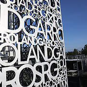 PARIS, FRANCE June 12.   The Roland Garros metallic wording design on Court Philippe-Chatrier catches the late evening sunlight at the 2021 French Open Tennis Tournament at Roland Garros on June 12th 2021 in Paris, France. (Photo by Tim Clayton/Corbis via Getty Images)