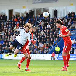 TELFORD COPYRIGHT MIKE SHERIDAN 23/3/2019 - James McQuilkin of AFC Telford heads for goal during the FA Trophy Semi Final fixture between AFC Telford United and Leyton Orient at the New Bucks Head