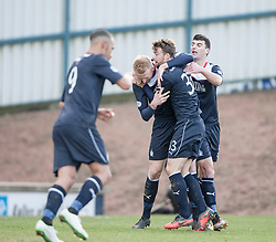 Falkirk' players cele  after Raith Rovers Dougie Hill scores an own goal for Falkirk's first goal.<br /> Raith Rovers 2 v 4 Falkirk, Scottish Championship game today at Starks Park.<br /> © Michael Schofield.