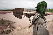 Ethiopia, Tigray region, Rayazebo District. A man working on a reforestation project.