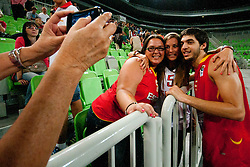Jose Pozas of Spain with girlfriend after basketball match between National teams of Serbia and Spain in Placement match for 3rd place of U20 Men European Championship Slovenia 2012, on July 22, 2012 in SRC Stozice, Ljubljana, Slovenia. (Photo by Urban Urbanc / Sportida.com)