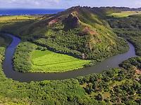 Aerial view of Wailua river in hawaii, USA.