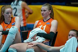 Rixt van der Wal of Netherlands, Elles Dambrink of Netherlands, Kim Klein Lankhorst of Netherlands after semi final Netherlands - Serbia, FIVB U20 Women's World Championship on July 17, 2021 in Rotterdam