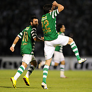 Bursaspor's Turgay BAHADIR (R) celebrate his goal with Volkan SEN (L) during their Turkish soccer super league match Bursaspor between Kayserispor at Ataturk Stadium in Bursa Turkey on Saturday, 01 May 2010. Photo by TURKPIX