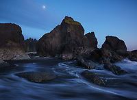 Twilight blues and moonrise, Ruby Beach, Olympic National Park, WA, USA