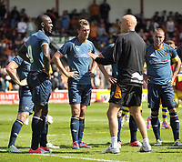 Football Pre-season friendly Walsall Vs Wolves<br />Manager Stale Solbakken speakes to some of the team at half-time